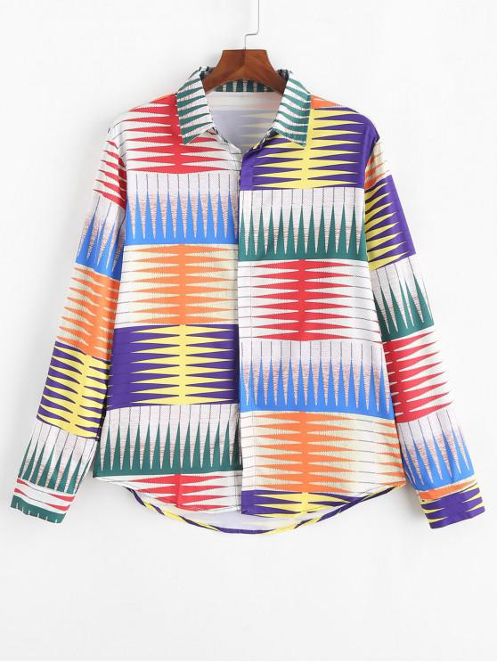 womens Colorful Geometric Graphic Print Long Sleeve Button Shirt - MULTI-C 3XL