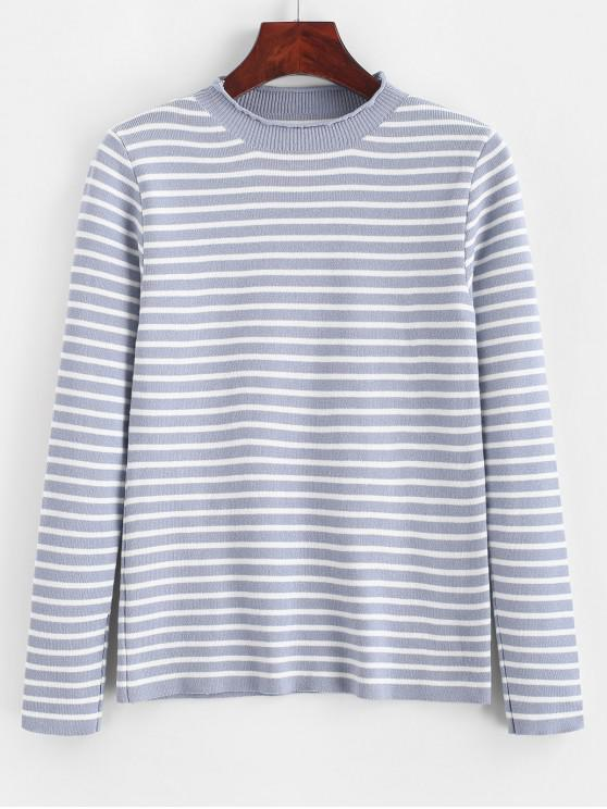 shops Slim Contrast Stripes Pullover Sweater - BLUE ONE SIZE