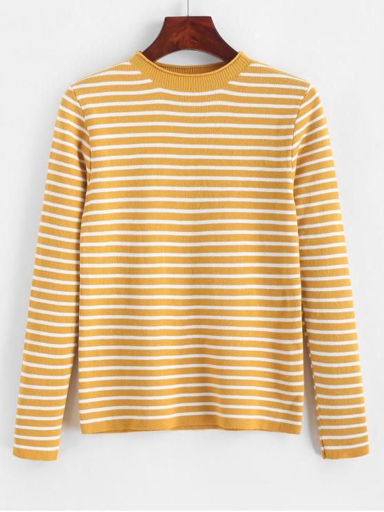 women Slim Contrast Stripes Pullover Sweater - YELLOW ONE SIZE