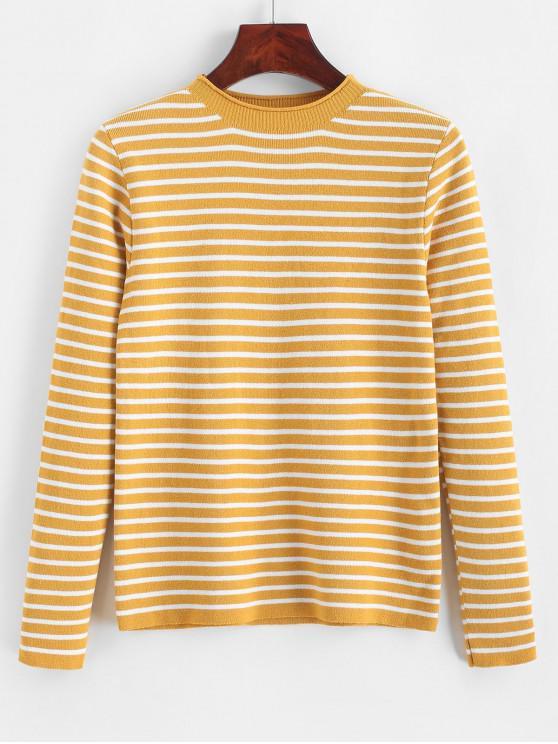 Jersey de rayas delgadas con contraste - Amarillo Talla única