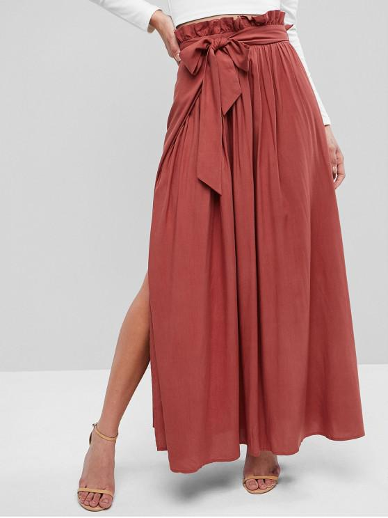women's Slit Paperbag Waist Long Skirt - RED WINE S