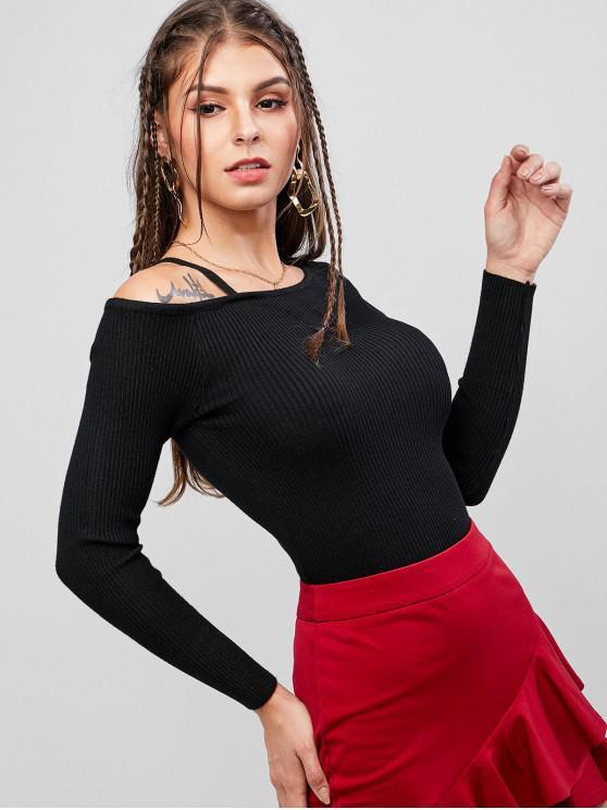 Suéter acanalado con hombros fríos y cuello delgado - Negro Talla única