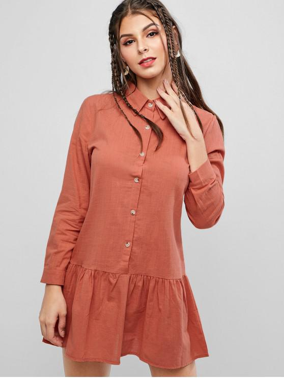 shop Long Sleeve Button Up Drop Waist Shirt Dress - DARK ORANGE M