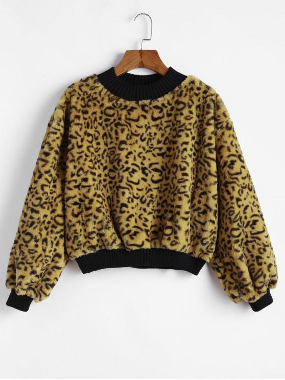 trendy Leopard Mock Neck Fuzzy Ribbed Hem Sweatshirt - LEOPARD M
