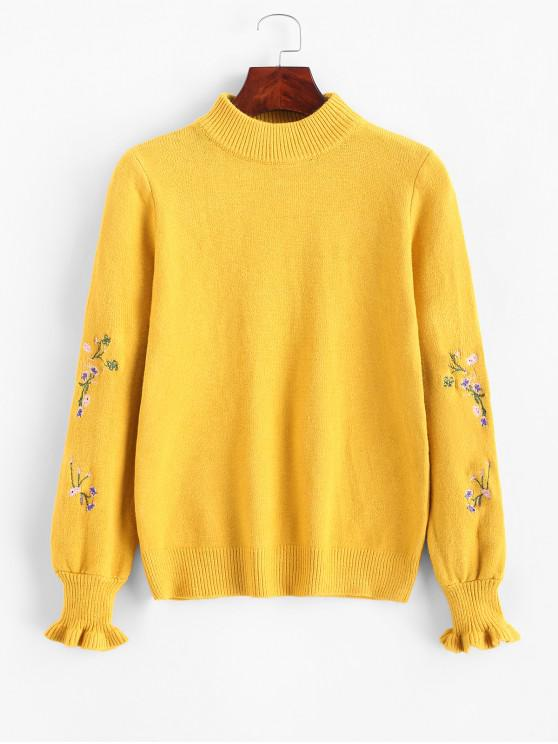 new Ruffled Sleeve Mock Neck Floral Embroidered Sweater - YELLOW ONE SIZE