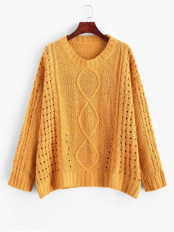 shop Side Slits Solid Open Knit Sweater - SAFFRON XL