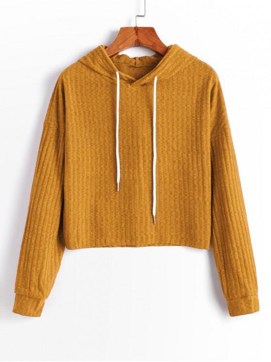 women's Hooded Drop Shoulder Raw Hem Knitted Sweater - GOLDEN BROWN S