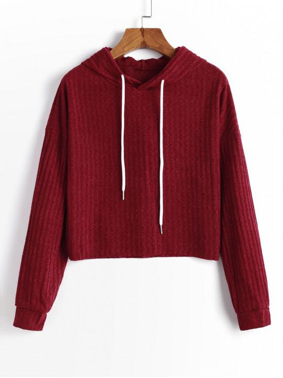 buy Hooded Drop Shoulder Raw Hem Knitted Sweater - RED WINE M
