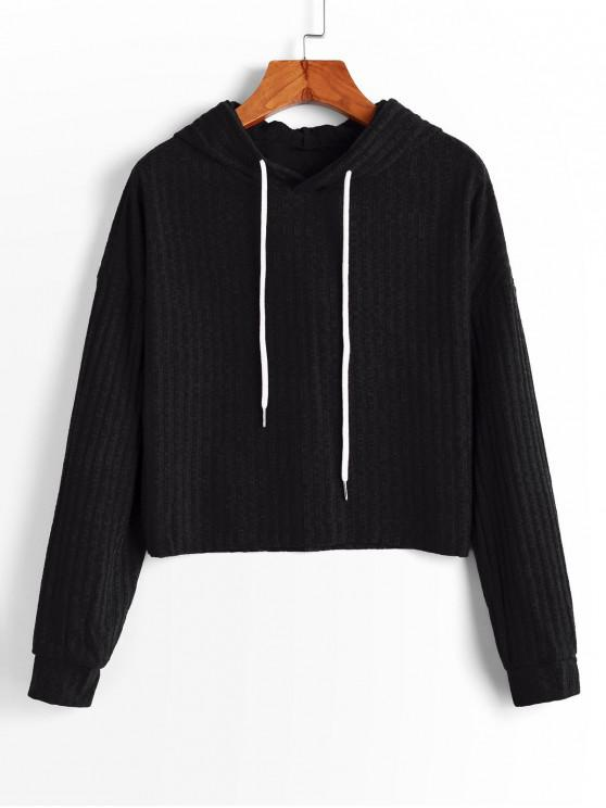 shop Hooded Drop Shoulder Raw Hem Knitted Sweater - BLACK S
