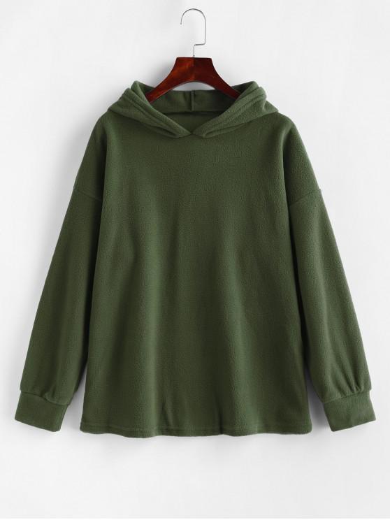 Fleece Drop Shoulder Plain Tunic Hoodie - Ejercito Verde M