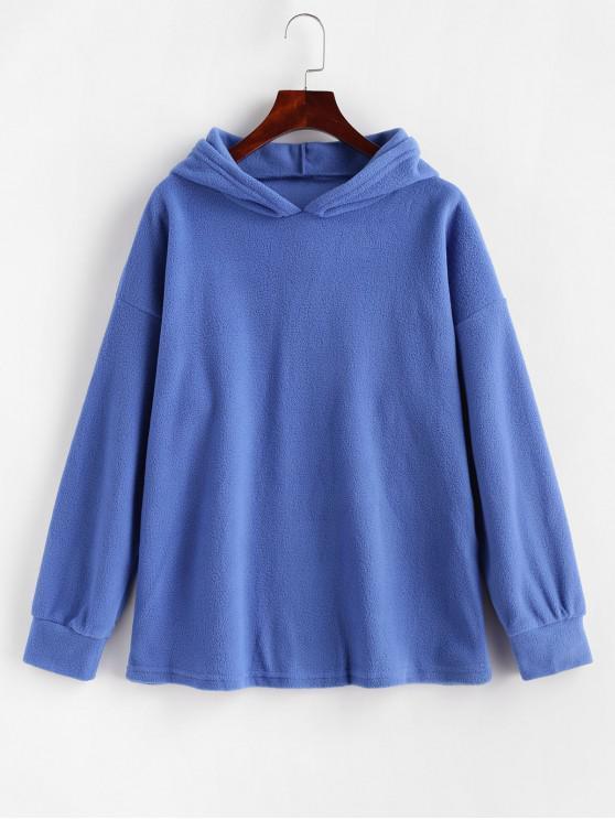 affordable Fleece Drop Shoulder Plain Tunic Hoodie - BLUE L