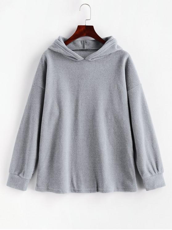 Fleece Drop Shoulder Plain Tunic Hoodie - Gris M