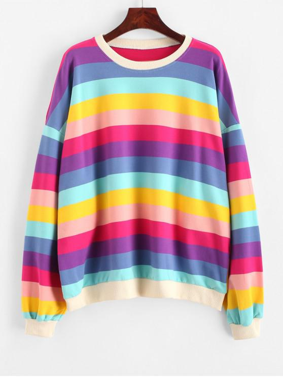 outfit Oversized Drop Shoulder Rainbow Stripes Sweatshirt - MULTI ONE SIZE