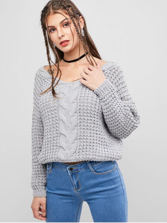 shops Drop Shoulder V Neck Chunky Sweater - GRAY ONE SIZE