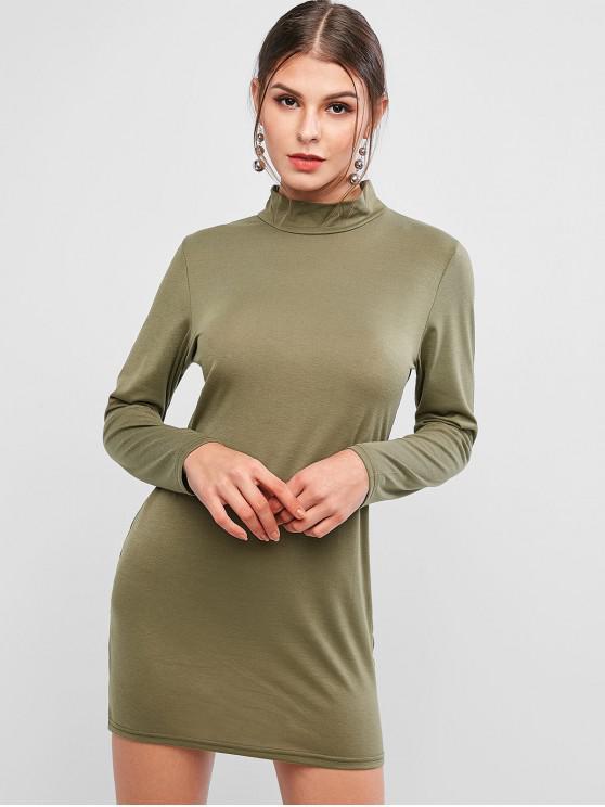 womens Basic Mock Neck Long Sleeve Bodycon Dress - CAMOUFLAGE GREEN S