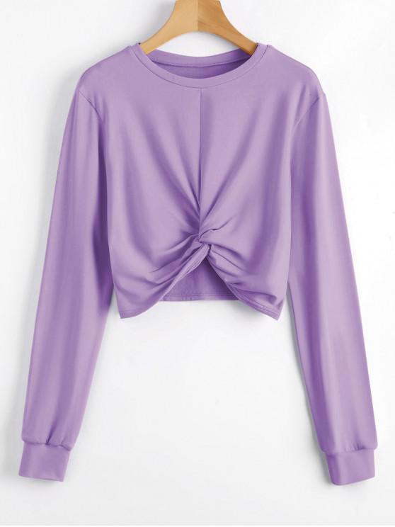 outfit Heathered Cropped Twist Sweatshirt - PURPLE M