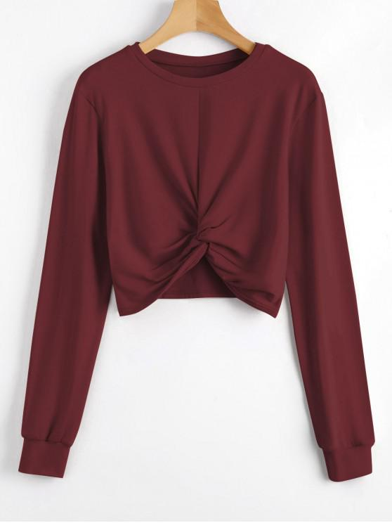 trendy Heathered Cropped Twist Sweatshirt - RED WINE XL