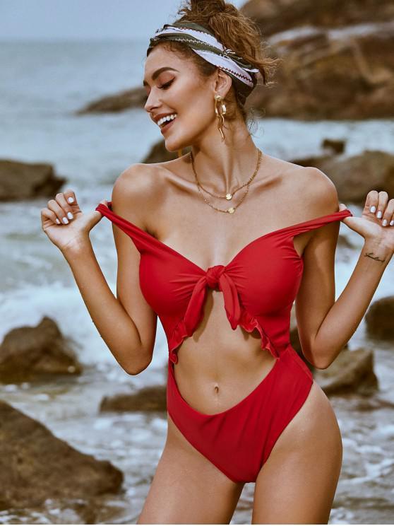 shop ZAFUL Knot Ruffle Cutout One-piece Swimsuit - RED XL