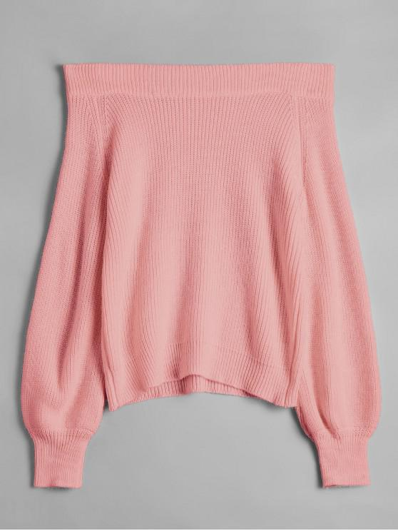 women's Off The Shoulder Lantern Sleeve Pullover Sweater - PINK ONE SIZE