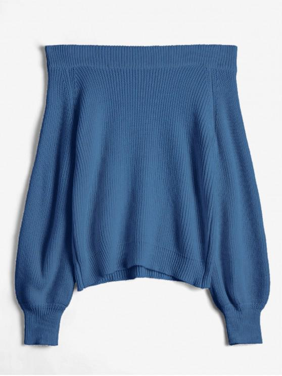 sale Off The Shoulder Lantern Sleeve Pullover Sweater - BLUE ONE SIZE