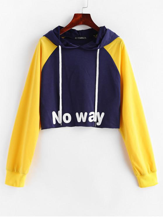outfits ZAFUL No Way Graphic Raglan Sleeve Cropped Hoodie - MULTI S