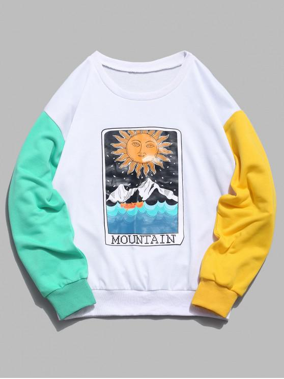 buy ZAFUL Cartoon Sun Mountain Graphic Color Block Splicing Sweatshirt - WHITE S