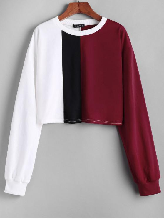best ZAFUL Color Block Crop Loose Sweatshirt - MULTI L