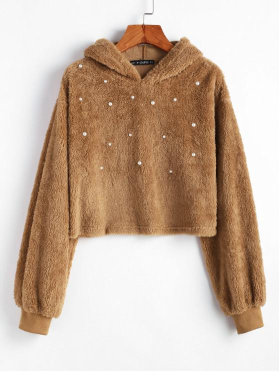 affordable ZAFUL Beading Solid Crop Faux Fur Hoodie - LIGHT BROWN S