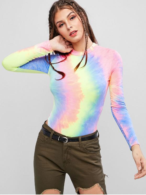shop Colorful Tie Dye Long Sleeve Mock Neck Bodysuit - MULTI-A M