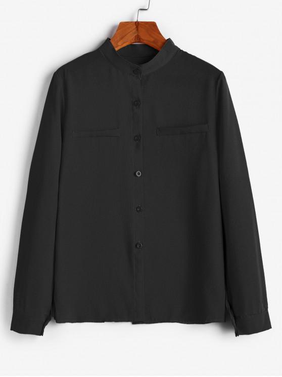 hot Crew Neck Plain Button Up Work Shirt - BLACK L