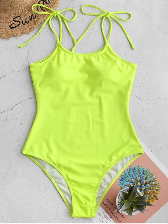 latest ZAFUL Tie Shoulder Plain One-piece Swimsuit - GREEN YELLOW XL