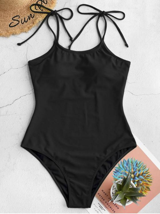 online ZAFUL Tie Shoulder Plain One-piece Swimsuit - BLACK XL