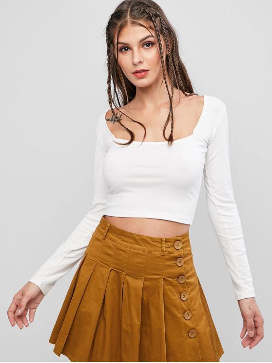 unique Basic Scoop Neck Cropped T Shirt - WHITE M