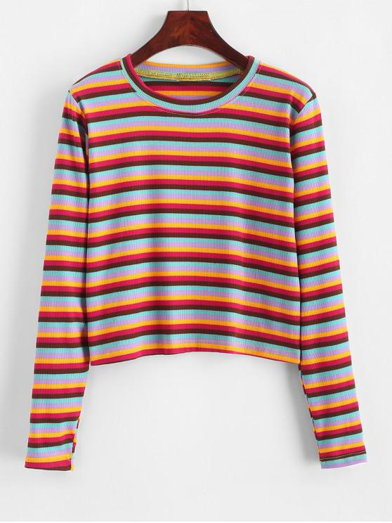 women Cropped Ribbed Rainbow Stripes Tee - MULTI ONE SIZE