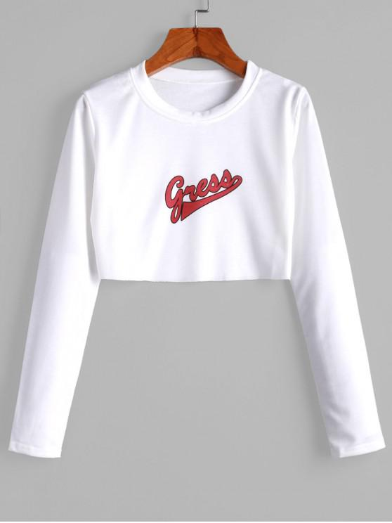 outfit Graphic Crew Neck Raw Cut Long Sleeve Crop Tee - WHITE XL