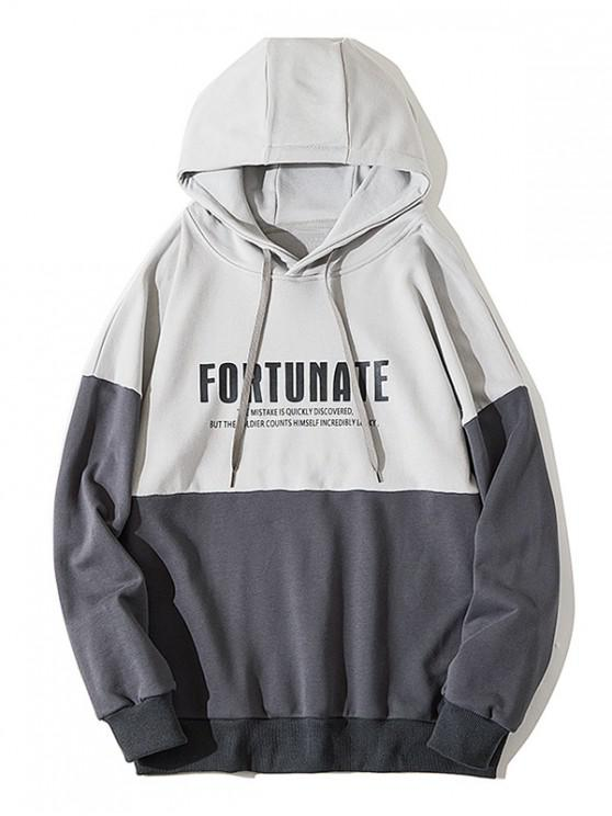 shops Fortunate Graphic Drop Shoulder Drawstring Hoodie - BATTLESHIP GRAY 3XL