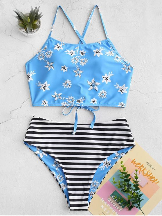 affordable ZAFUL Reversible Flower Striped Lace Up Tankini Swimsuit - MULTI-A M