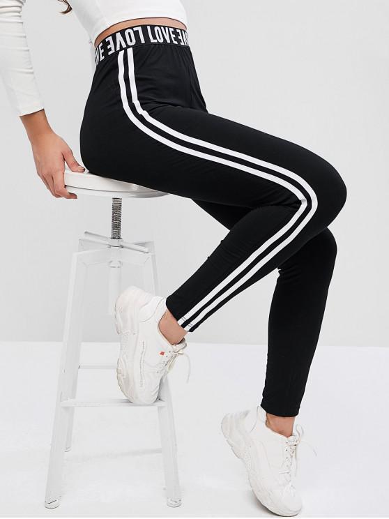 trendy ZAFUL Graphic Side Striped Leggings - BLACK L