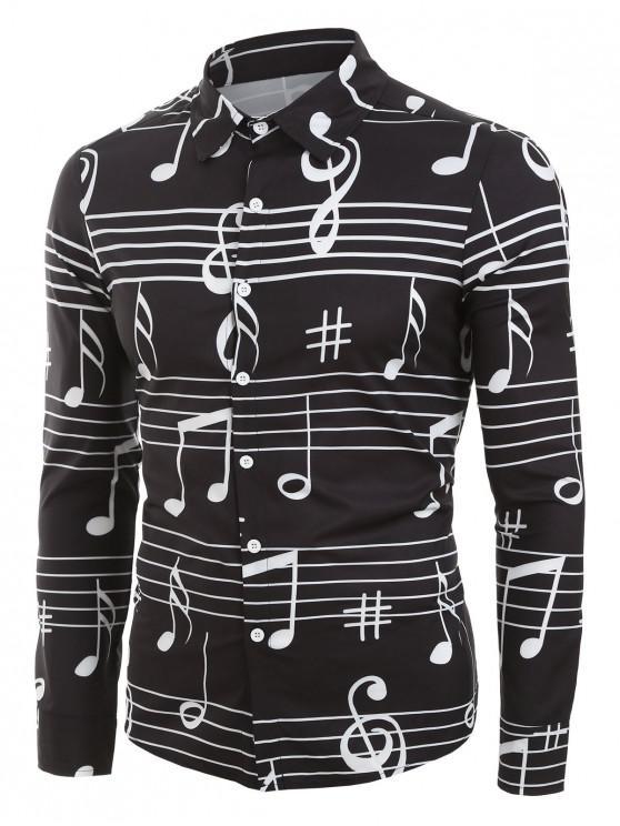 womens Long Sleeve Music Notes Print Button Up Festival Shirt - BLACK 3XL