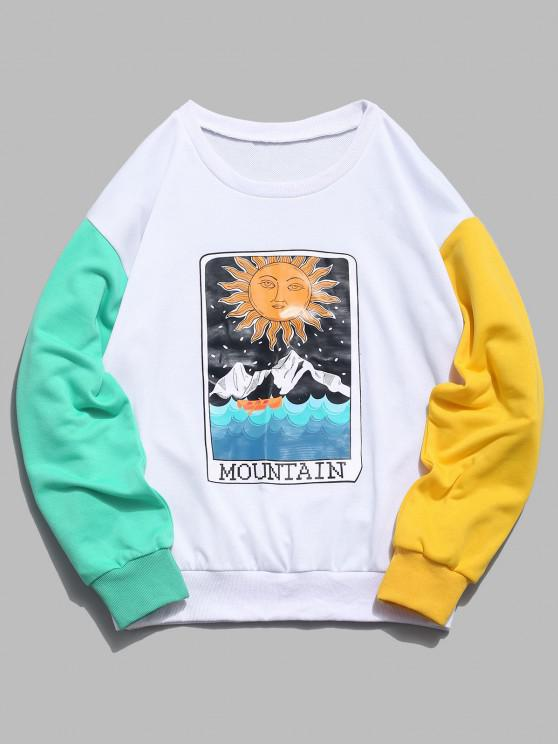 womens ZAFUL Cartoon Sun Mountain Graphic Color Block Splicing Sweatshirt - WHITE L
