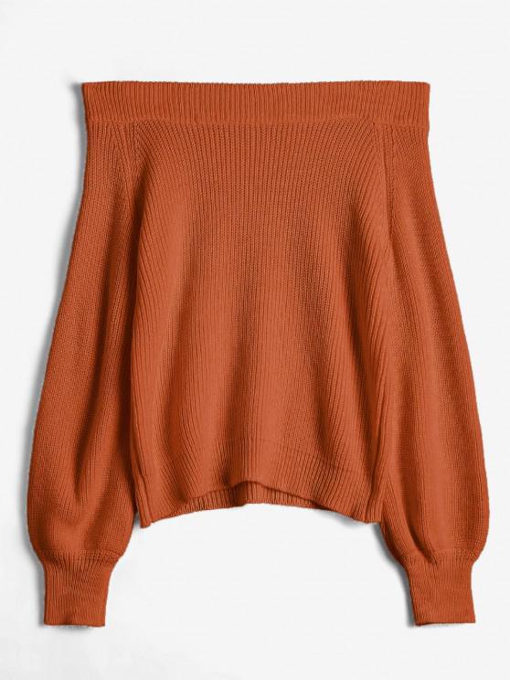 Schulterfreier Laterne Ärmel Pullover - Rost Eine Größe