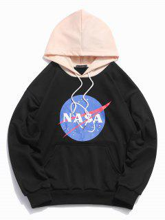 ZAFUL Graphic Letter Print Color Block Hoodie - Black S