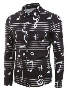 Long Sleeve Music Notes Print Button Up Festival Shirt - Black 2xl