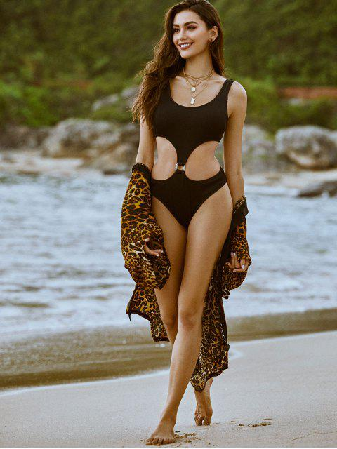 trendy ZAFUL  Textured Ribbed O-ring Monokini Swimsuit - BLACK S Mobile