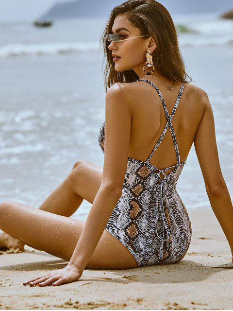 latest ZAFUL Snakeskin Lace Up Backless One-piece Swimsuit - MULTI-A L Mobile