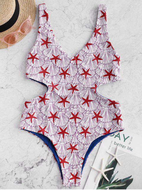 Bañador reversible de una pieza con estampado de concha de estrella de mar ZAFUL - Rojo Lava XL Mobile