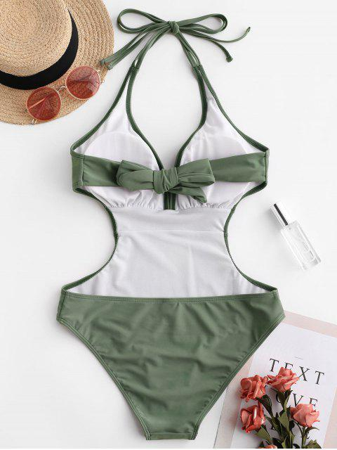 shop ZAFUL Halter Tie Back Monokini Swimsuit - CAMOUFLAGE GREEN L Mobile