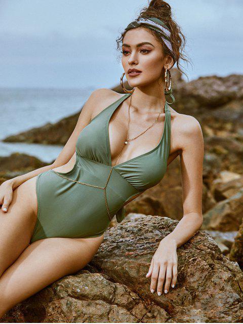 ZAFUL Halter繫帶後背Monokini泳衣 - 迷彩綠色 XL Mobile