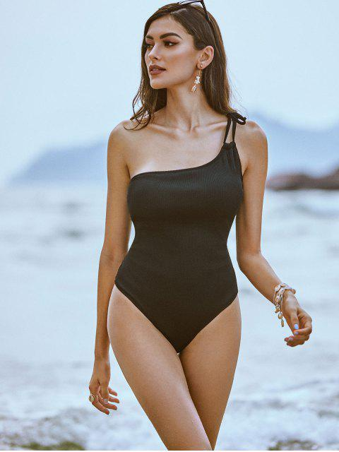 fancy ZAFUL Tie Textured Ribbed One Shoulder One-piece Swimsuit - BLACK S Mobile