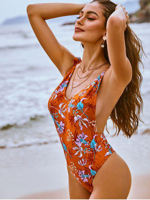 trendy ZAFUL Floral Print Ruffles One-Piece Swimsuit - RUST L Mobile